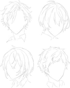 Haarstijl hoofd stijl voor anime pictogram portret contour vector illustratie zwarte lijnen geïsoleerd