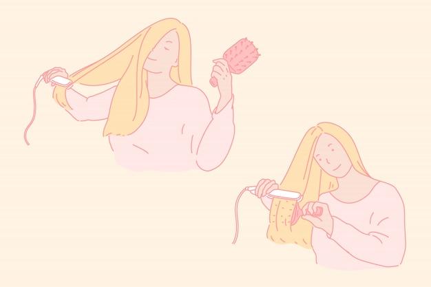 Haarstyling, schoonheidsverzorgingillustratie