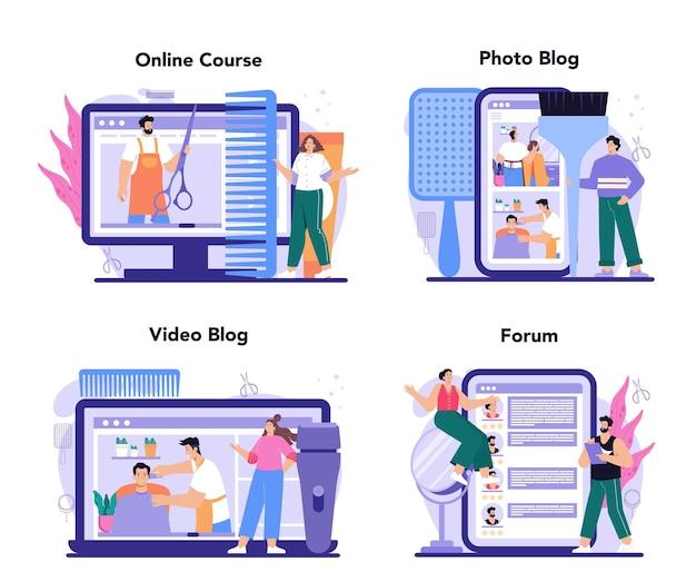 Haarstylist online service of platformset. idee van kappers in salon. haarkleuring en styling. online cursus, forum, foto- en videoblog. platte vectorillustratie