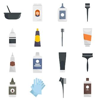 Haarverf pictogrammen instellen. platte set van haarverf vector iconen geïsoleerd op een witte achtergrond