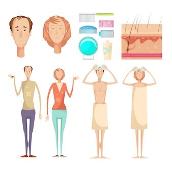 Haarverlies probleem geïsoleerde infographic elementen instellen