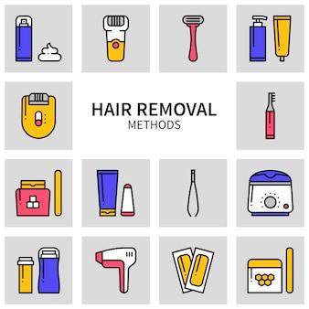 Haarverwijdering methoden pictogrammen.