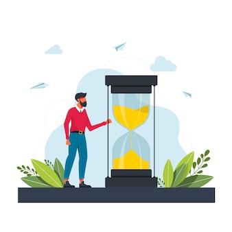 Haastende man en stopwatch. concept van timemanagement, effectieve planning voor productief werk, stressvolle taak, deadline, aftellen. moderne plat kleurrijke vectorillustratie voor poster, spandoek.