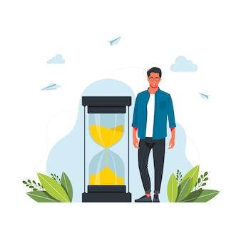 Haastende man en zandloper. concept van timemanagement, effectieve planning voor productief werk, stressvolle taak, deadline, aftellen. moderne plat kleurrijke vectorillustratie voor poster, spandoek.