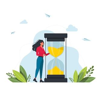 Haastende vrouw en chronometer. concept van timemanagement, effectieve planning voor productief werk, stressvolle taak, deadline, aftellen. moderne plat kleurrijke vectorillustratie voor poster, spandoek.
