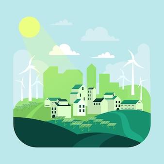 Habitat dag illustratie met groene stad