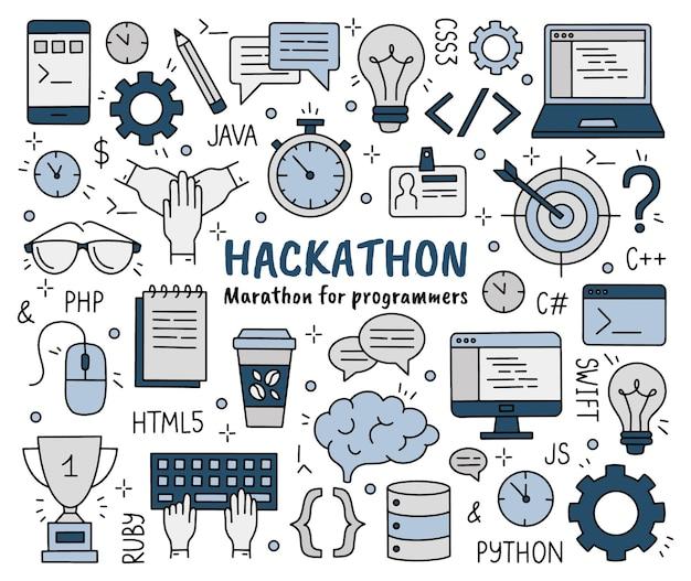 Hackathon set doodle stijliconen voor ontwikkelaars en programmeurs