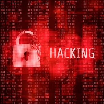 Hacken. hacker cyberaanval. gehackt programma op matrix code achtergrond