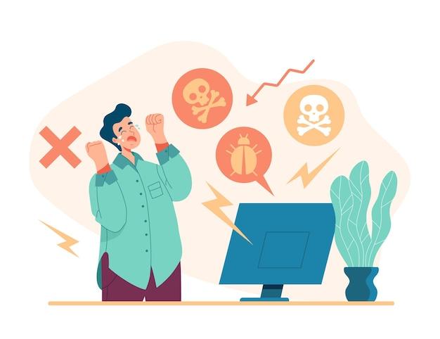 Hacker aanval computervirus concept, cartoon vlakke afbeelding