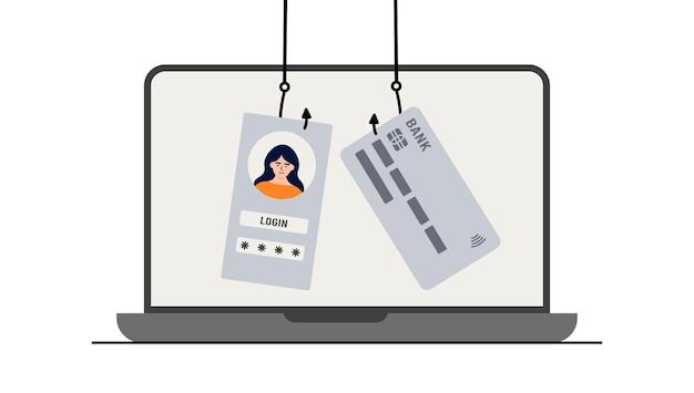 Hacker aanval. fraude met gebruikersgegevens op sociale netwerken. diefstal van creditcard of bankpas. internet phishing, gehackte gebruikersnaam en wachtwoord. cybercriminaliteit en misdaad. een dief op een website online op internet.