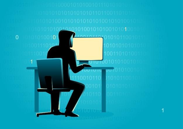 Hacker achter desktop computer