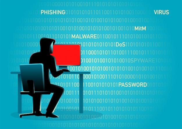 Hacker achter desktopcomputer