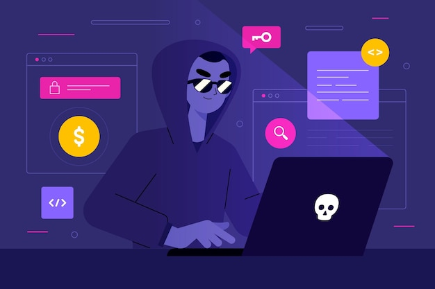 Hacker activiteit illustratie stijl