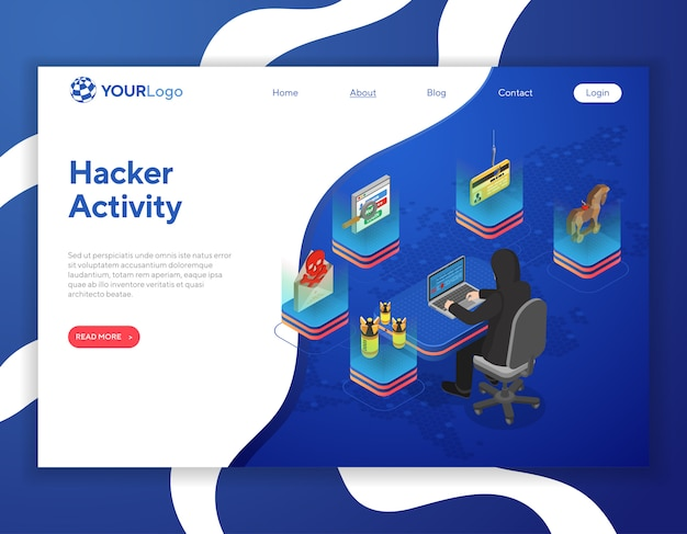 Hacker activiteit isometrische concept