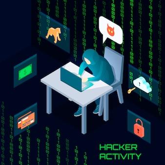 Hacker activiteit isometrische samenstelling