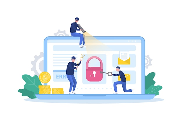 Hacker concept. dieven vallen de computer aan, stelen persoonlijke gegevens