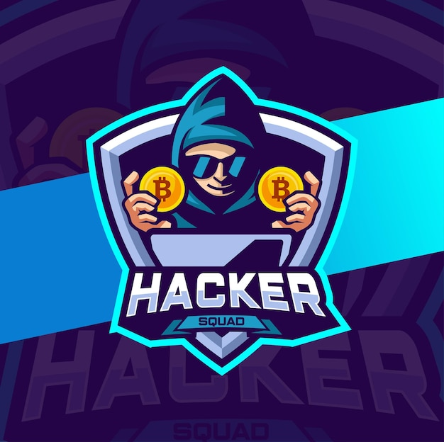 Hacker cryptocurrency mascot logo-ontwerp voor e-sport en teamlogo
