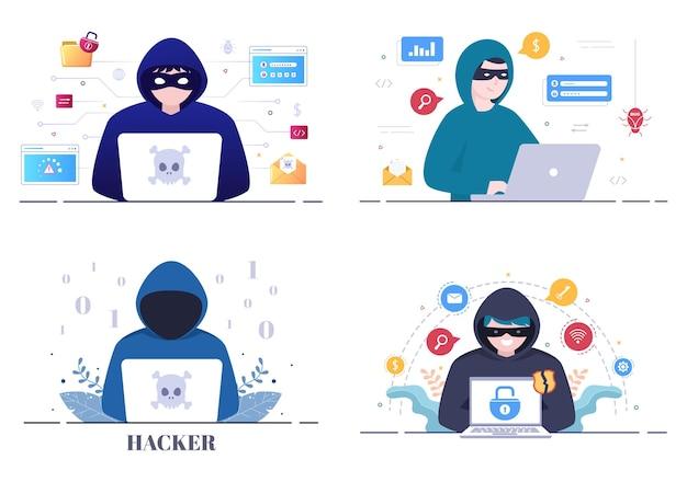 Hacker die computerserver gebruikt om gehackte database-achtergrondvectorillustratie te gebruiken