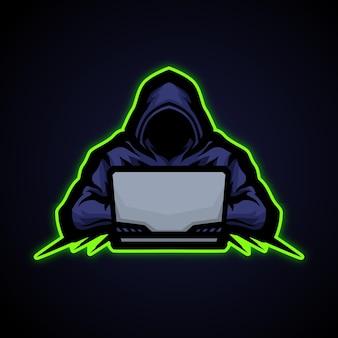 Hacker e sport-logo-stijl