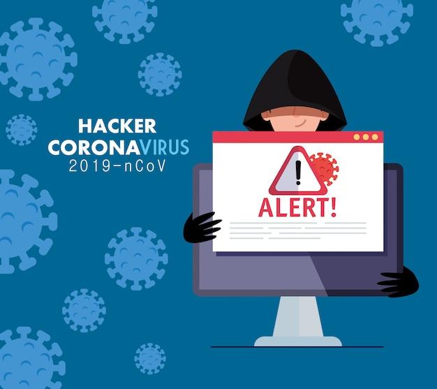 Hacker en laptop met gevaar waarschuwingsbord tijdens covid-19 pandemie vector illustratie ontwerp