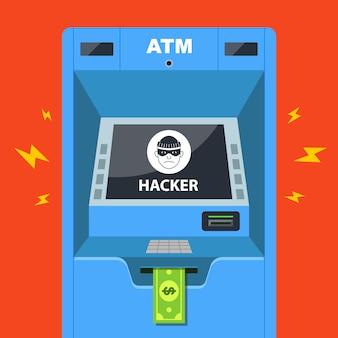 Hacker heeft een geldautomaat gehackt en steelt geld. platte vectorillustratie