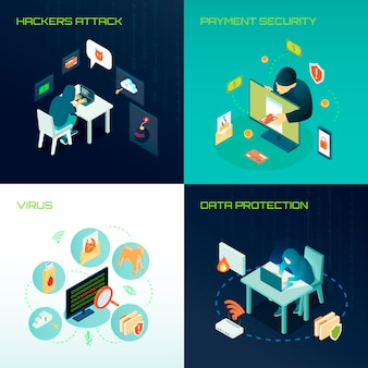 Hacker isometrisch ontwerpconcept