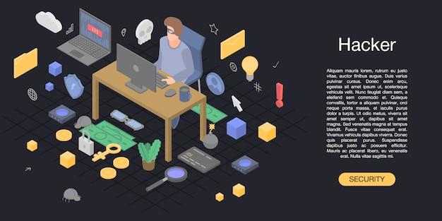 Hacker man concept achtergrond, isometrische stijl