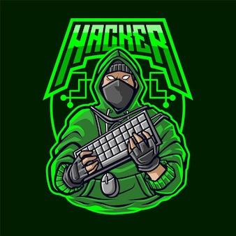 Hacker mascot-logo voor esport en sport