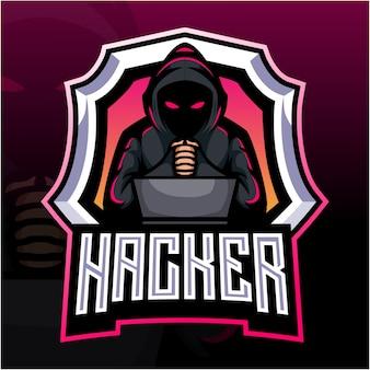 Hacker mascotte esport logo ontwerp