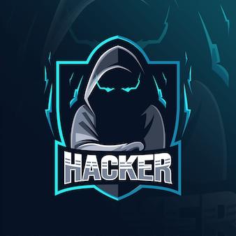 Hacker mascotte logo ontwerp
