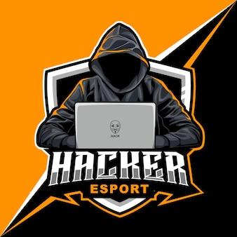 Hacker-mascotteillustratie voor sport- en esports-logo