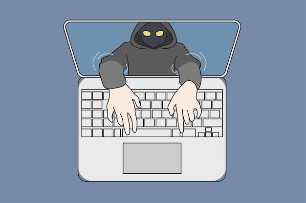 Hacker phishing online op computer die gegevens steelt