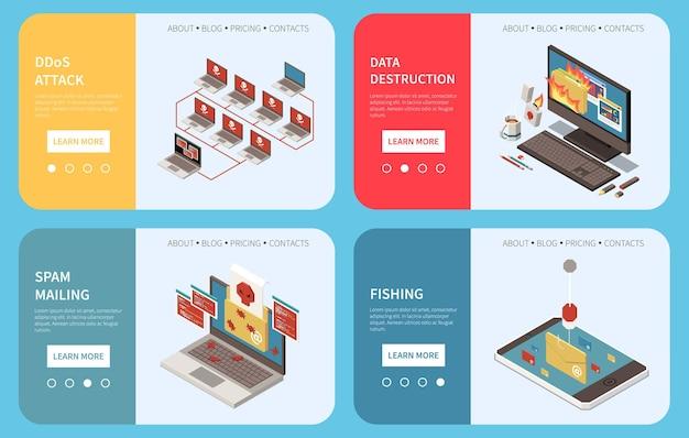 Hacker visserij digitale misdaad isometrische banner set bestemmingspagina