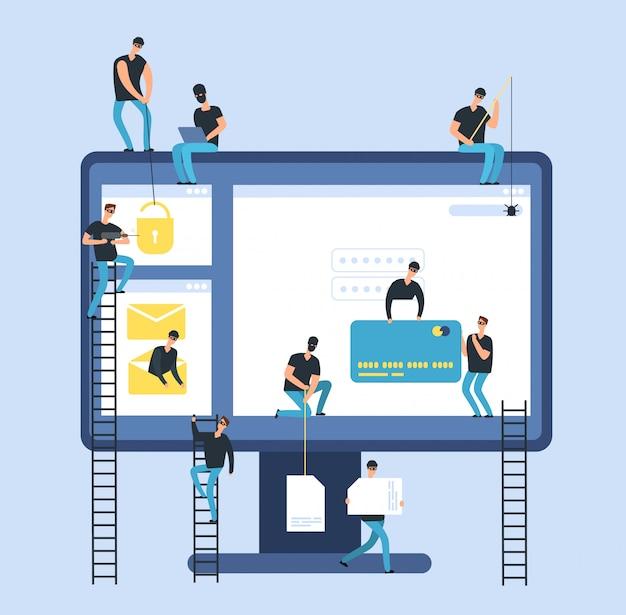 Hackers. cyberdief berooft computer vertrouwelijke bankgegevens. hacker identiteit en geldrisico