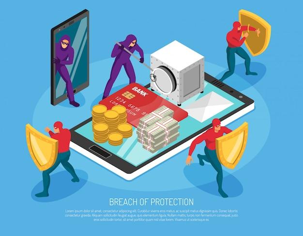Hackers die wachtwoorden hacken en geld horizontale 3d stelen