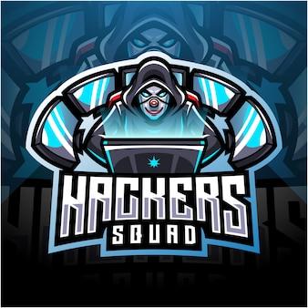 Hackers esport mascotte logo ontwerp