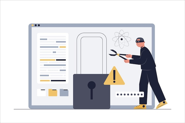 Hackers proberen in te breken in het computersysteem om het systeem te ontgrendelen