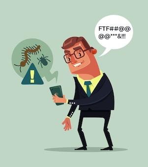 Hackervirussen vallen smartphone aan geschokt man karakter, platte cartoon afbeelding