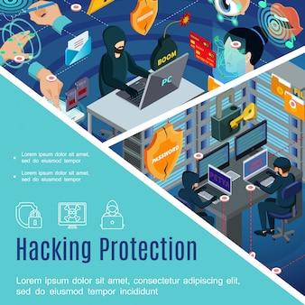 Hacking-sjabloon voor beveiliging en bescherming met antivirus-wachtwoorden, biometrische autorisatie in isometrische stijl