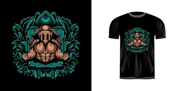 Hades met gravure ornament voor t-shirt design