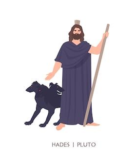 Hades of pluto - god van de doden, koning van de onderwereld in de oude griekse en romeinse religie of mythologie. mannelijke stripfiguur geïsoleerd op een witte achtergrond. platte cartoon kleurrijke vectorillustratie.