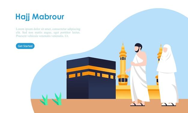Hadj en umrah bedevaart bidden in de buurt van kaaba sjabloon