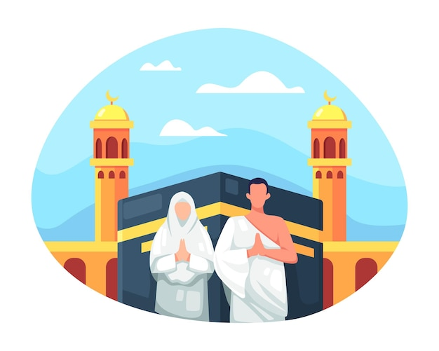 Hadj en umrah illustratieontwerp. moslimpaar doet islamitische hadj-bedevaart, paar moslim front kaaba mekka draagt ihram. eid al adha mubarak met mensenkarakter. vector in een vlakke stijl