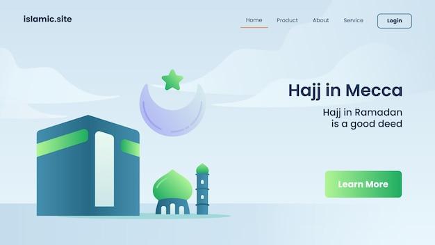 Hadj in mekka voor de landing van een website-sjabloon of het ontwerp van de startpagina