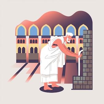 Hadj of umrah-illustratie met mensenkarakter en mekka-concept