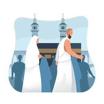 Hadj-pelgrims voeren tawaf uit. hadj of umrah met platte cartoon karakter illustratie