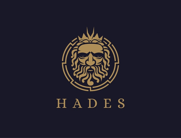 Haides god logo pictogram illustratie vector, pluto god logo, orkus-logo