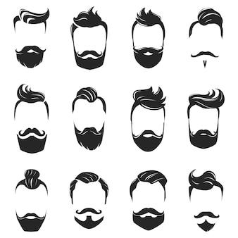 Hairstyles baard en haar zwart-wit set