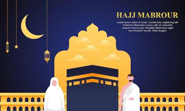 Hajj en umrah bedevaart bidden in de buurt van kaaba.