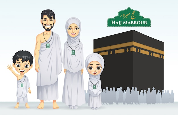 Hajj en umrah familie illustratie